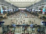 Inside a busy airport