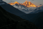 Picture of Mt. Everest at sunset.