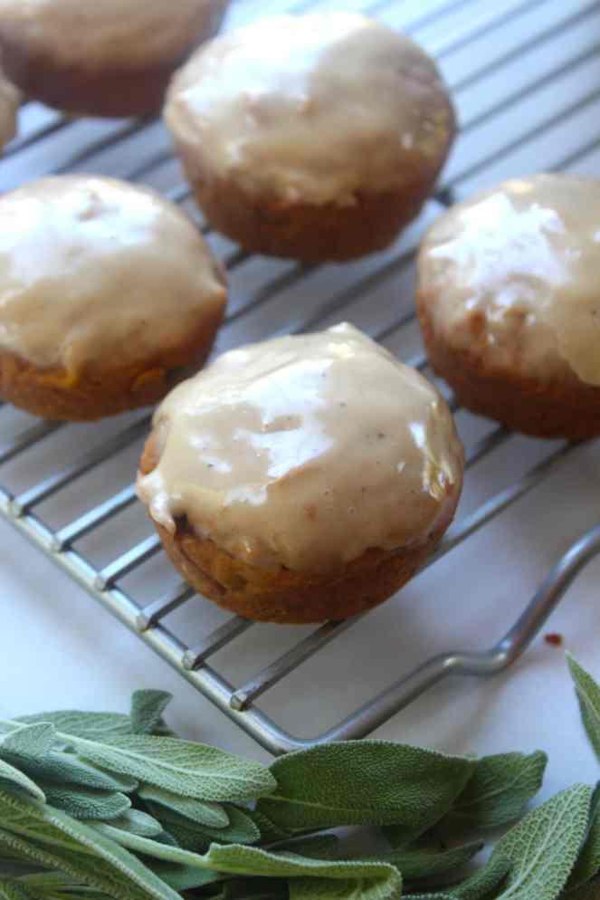 Pumpkin, Sage, & Brown Butter Cupcakes| #SoHappyYouLikedIt #CookbookMonth #MarthaStewart #Cupcakes