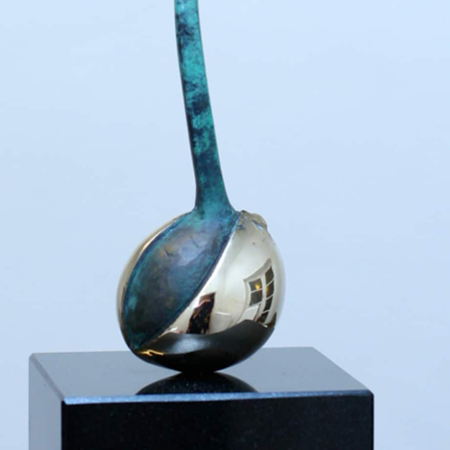 Avocado-Plant-40x11x10cm-(limited-to-10)-BRONZE-PATINA-polished-stainless-with-BLACK-GRANITE-[bronze,-table-top,stainless-steel]Zoe-Ellenberg-plant-interior-sculpture-australian-teal