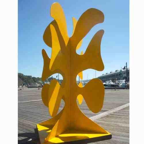 Big-Yellow-Taxi-3m-POWDER-COATED-STEEL-[outdoor,-landmark]-stephen-Coburn-australian-yellow-sculpture