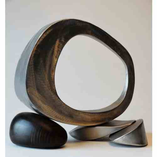 Bundle-at-Rest-30cm-stainless-steel-[table-top]-donal-Molloy-Drum-australian-abstract-interior-sculpture-japanese-modern-contemporary-sculpture
