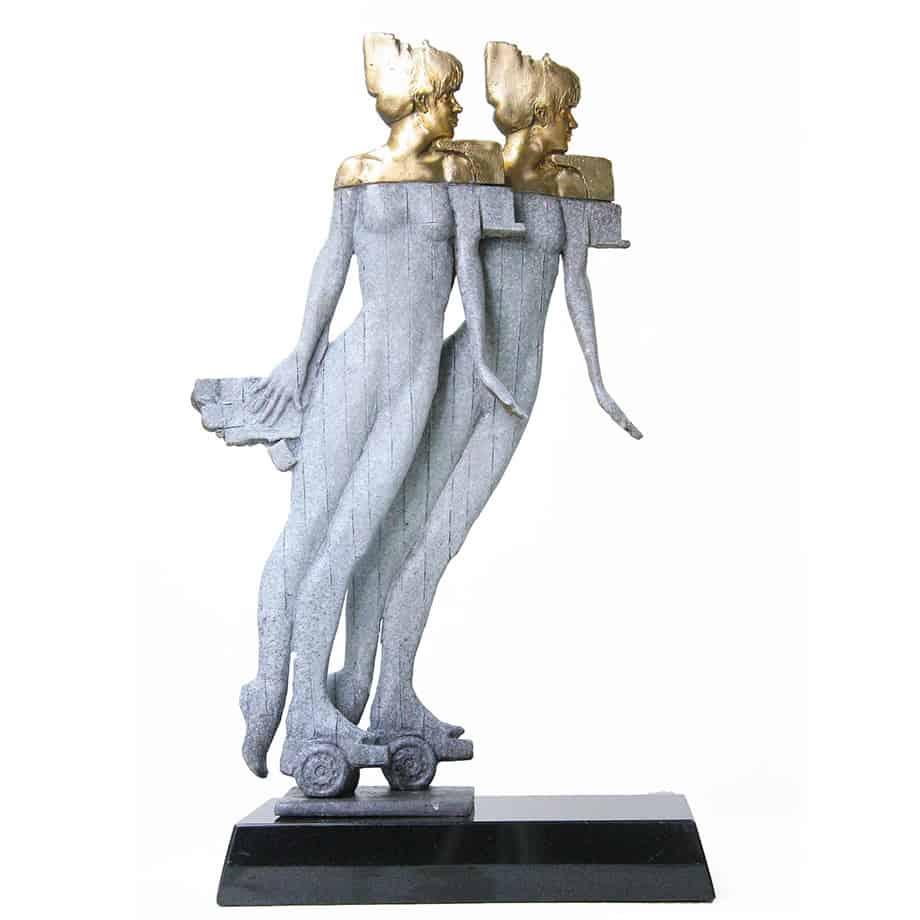 Double-Exposure--50cm-BRONZE-[bronze,-table-top,-figurative]-Stephen-Glassborow-sculpture-abstract-australian-female-body-bronze