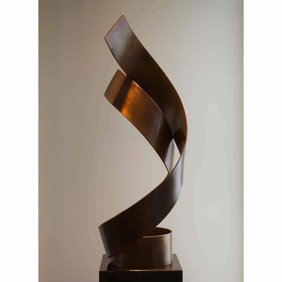 Duet-183x56cm--COPPER-SPIRAL--SHEET-WITH-PATINA-[free-standing,-outdoor]-mike-baird-australian-garden-sculpture