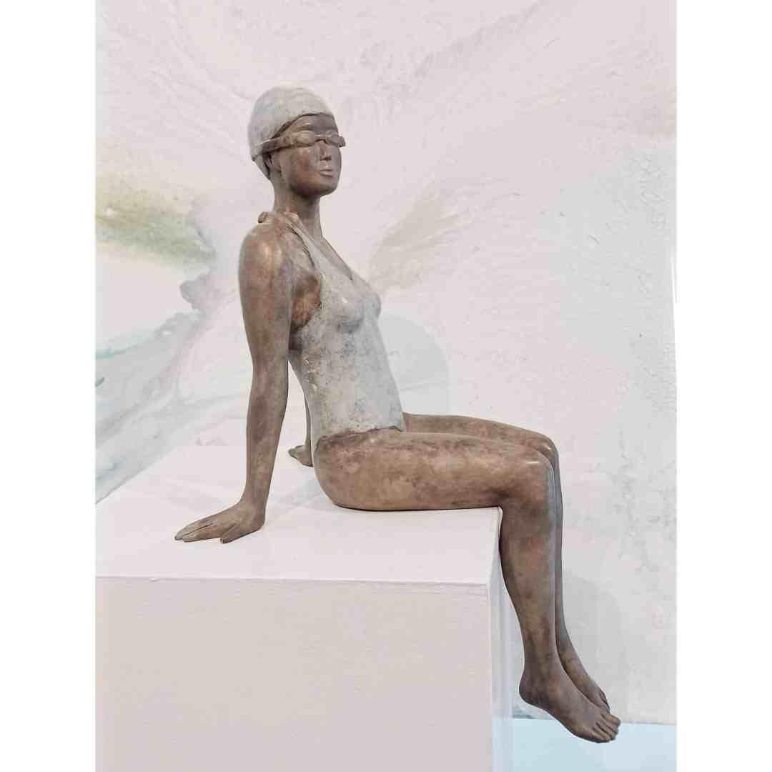 bronze figurative sculpture, female swimmer - by australian sculptor mela cooke
