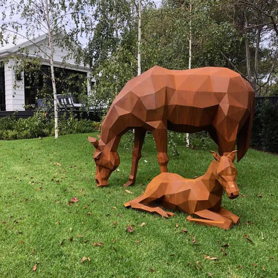 Horse-and-Foal-Grazing [corten, outdoor] matt hill australian sculpture horse outback garden sculpture