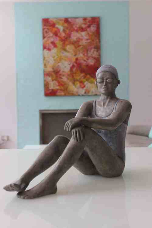 Late afternoon swimmer---BRONZE-WITH-PATINA-[Table-top,Bronze,-Figurative]-mela-cooke-australian-female-sculpture