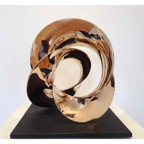 Motion-3-CAST-BRONZE--on--TILE-30x30cm-[Bronze-Tabletop]Ben-Storch-sculpture-australian-abstract-twisted-form-art