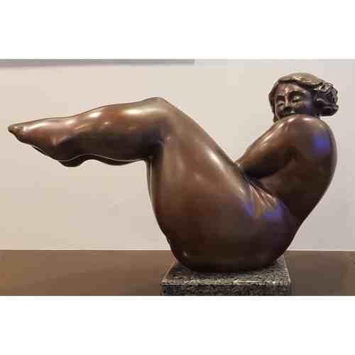 Opulence-70x48cm-BRONZE-MARBLE-BASE-[Bronze,Table-top,Figurative]-Libucha-Zygmunt-australian-sculpture-female-form-indoor