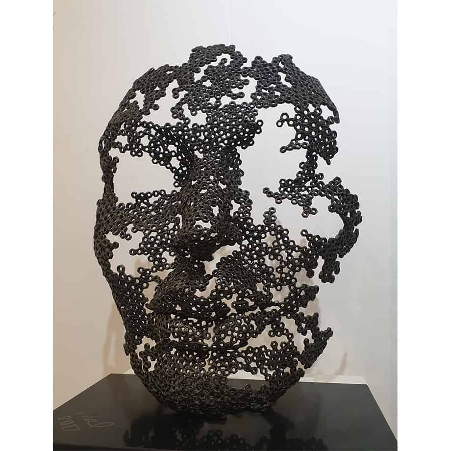 Rebirth-54x33x70cm-FABRICATED-STEEL-NUTS-GRANITE-BASE-[-table-top,-figurative]-emad-dhahir-sculpture-face-art-australian-female