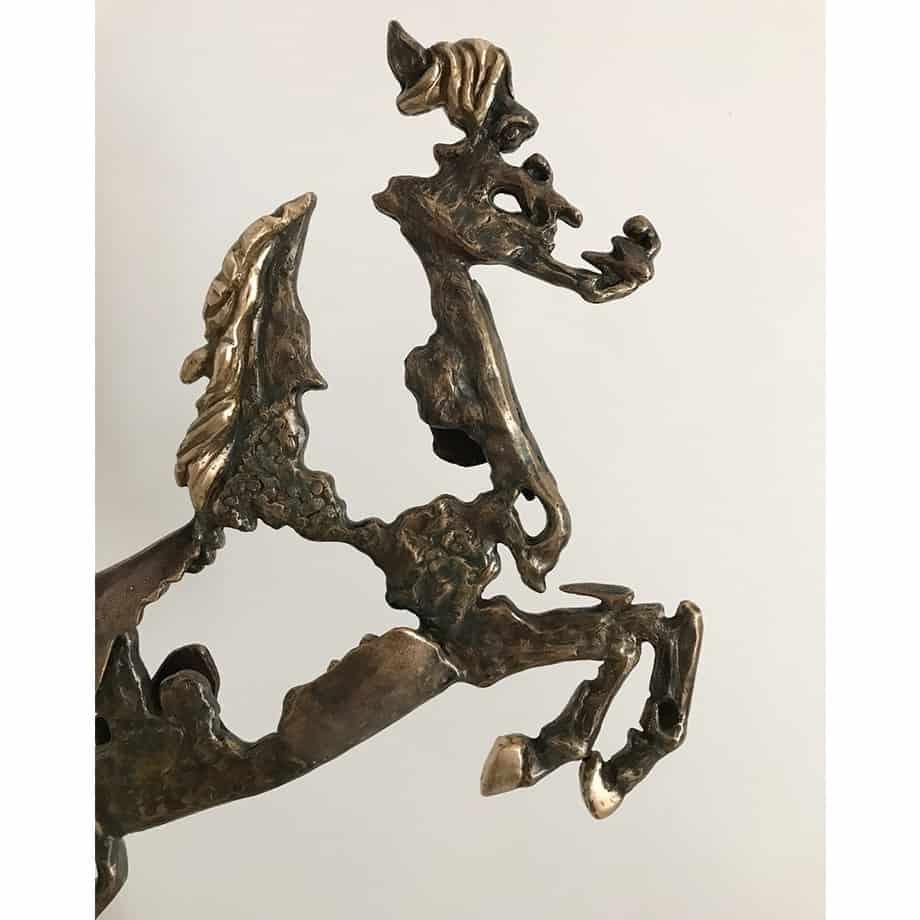 Spirit--85x51cm--BRONZE-SANDSTONE[Bronze,tabletop]Helena-Lillywhite-australian-interior-gold-horse-sculpture