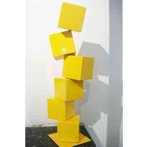 Cubestack-#15-160cm TED-STEEL-[Corten,outdoor,Landmark]-alex-shiebner-australian-sculpture-geometric-metal garden-art