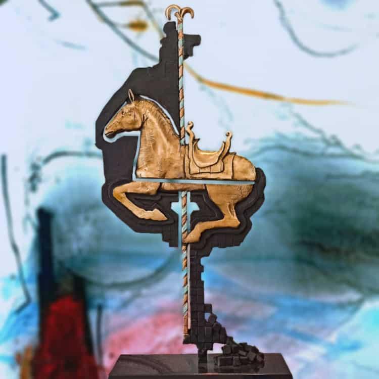 Carousel-55cm---BRONZE-[bronze,-table-top]-Stephen-Glassborow-bronze horse sculpture