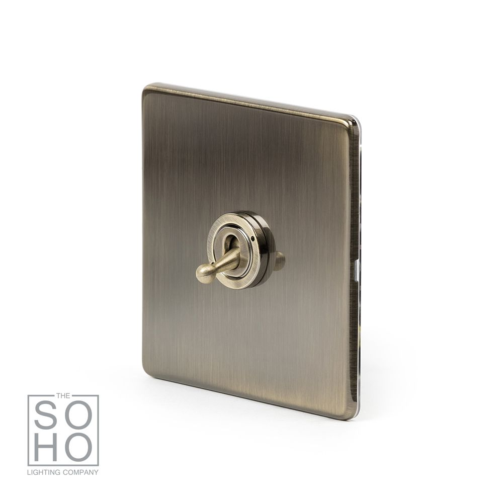 the charterhouse collection aged brass 1 gang 2 way toggle switch