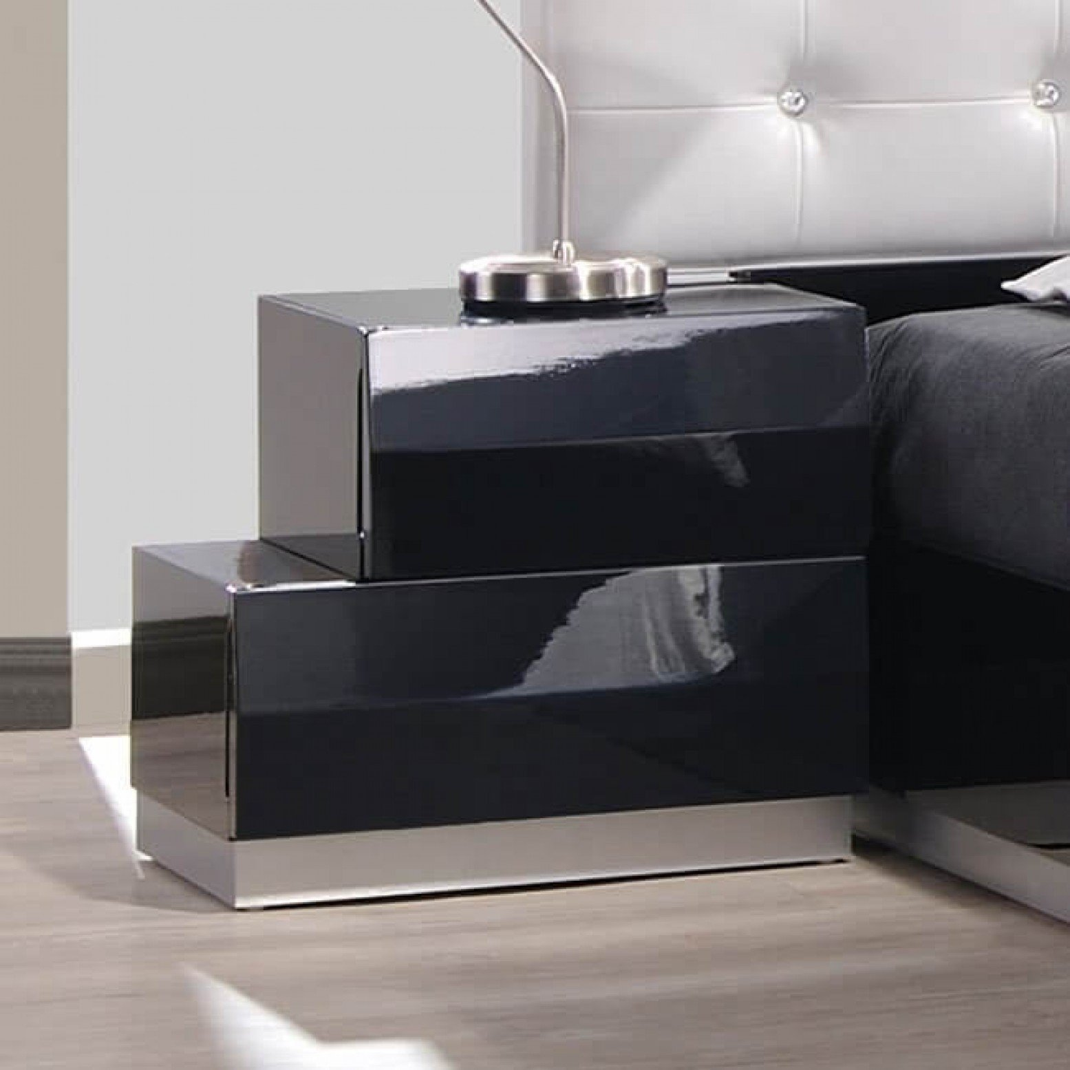 Milan Modern Lacquer Left Nightstand