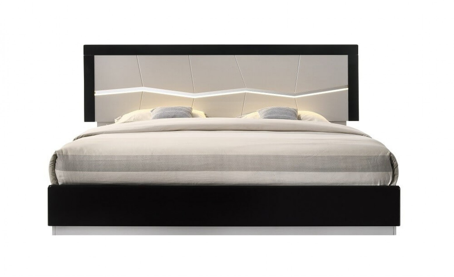 Turin Modern Lacquer Led King Size Panel Bed Light Grey