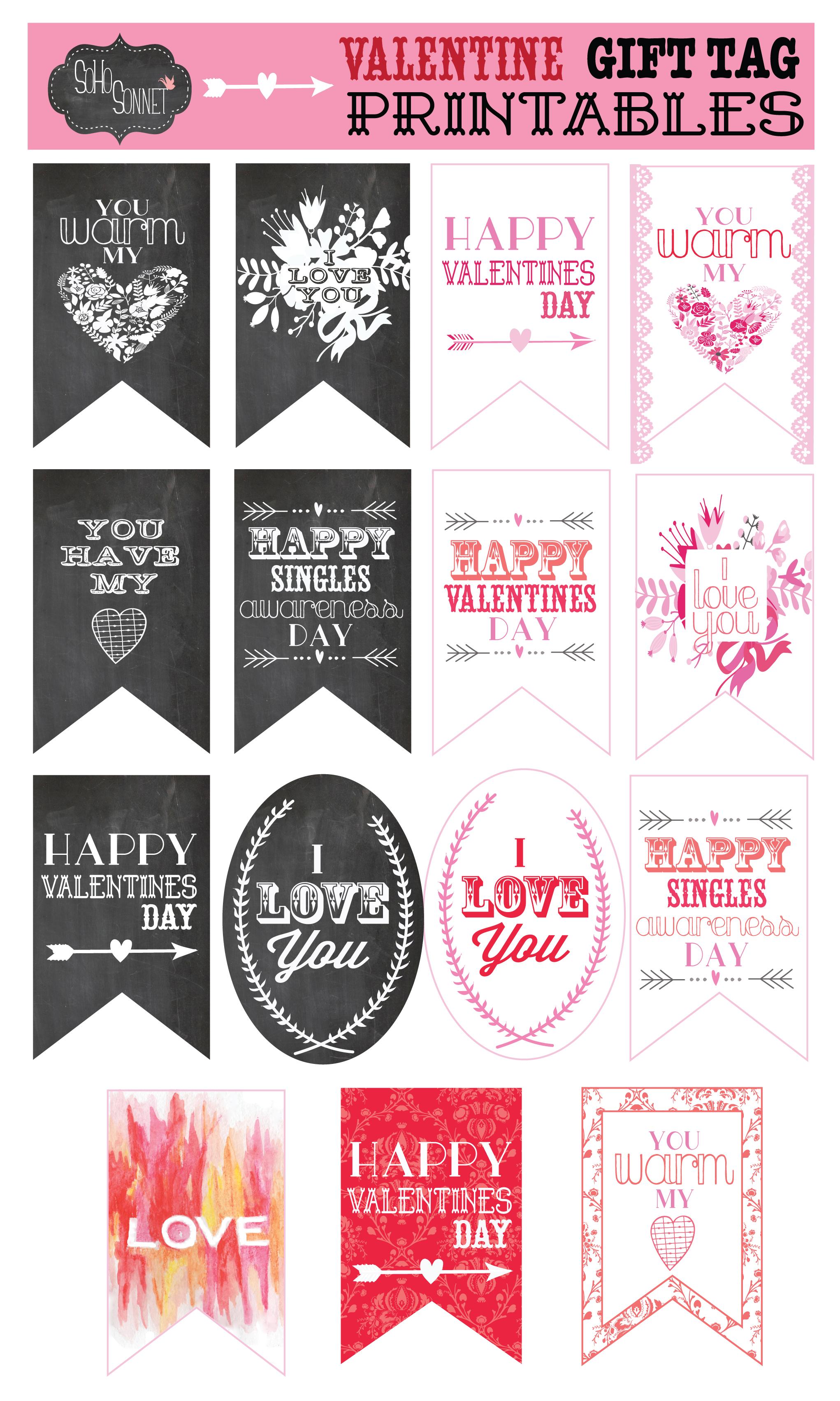 Free Valentine T Tag Printables