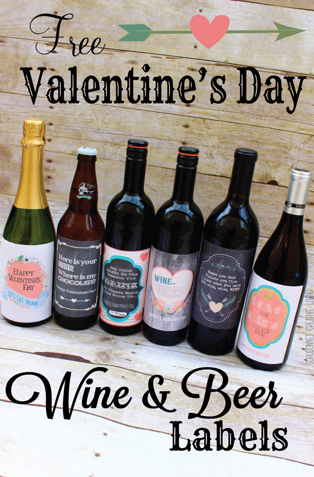 Valentines Day Wine And Beer Gift Labels SohoSonnet