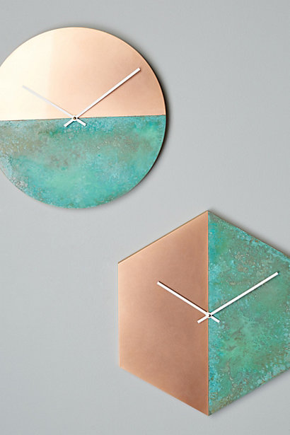 Copper Home Decor Circle and Hexagon Clocks Oxidization Half Turquoise Blue Green Watch Time