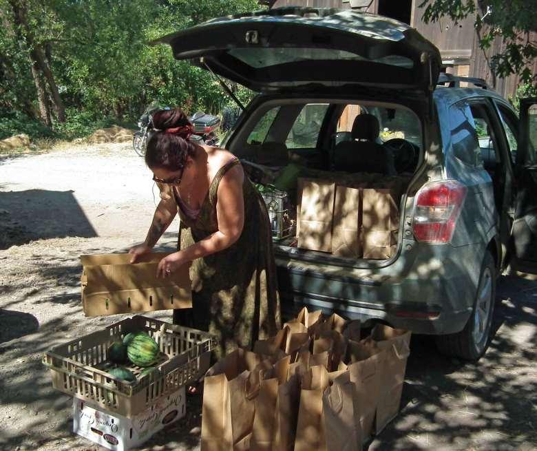 Amanda Fills the CalFresh Outreach Bags