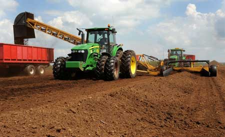 Equipment harvesting peat