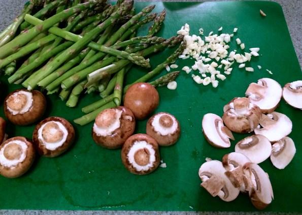 asparagus, mushrooms, garlic