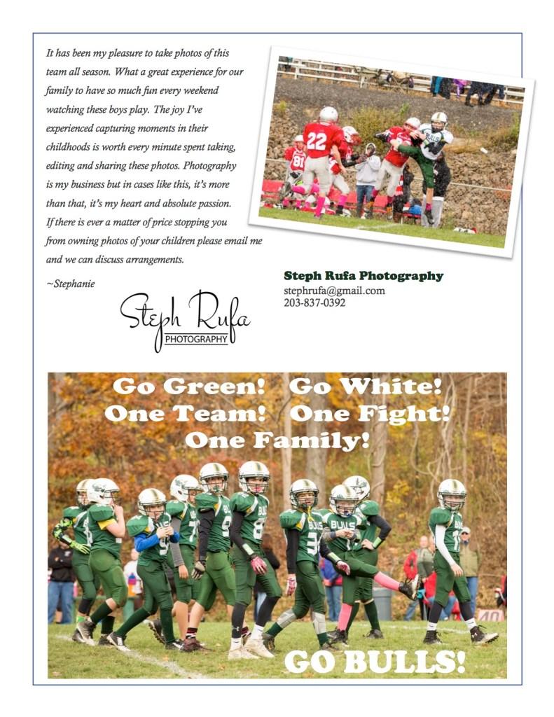 Steph Rufa Photography, soivebeenthinking.com, New Milford Bulls Custom Football Sports Poster Brochure