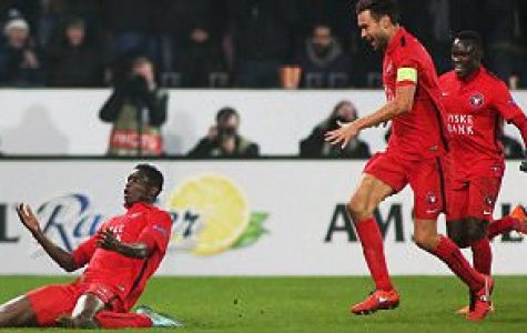 Paul Onuachu of FC Midtjylland celebrates scoring his sides second goal during the UEFA Europa League Round of 32 match between FC Midtjylland and Manchester United played at MCH Arena, Herning, Denmark on 18th February 2016