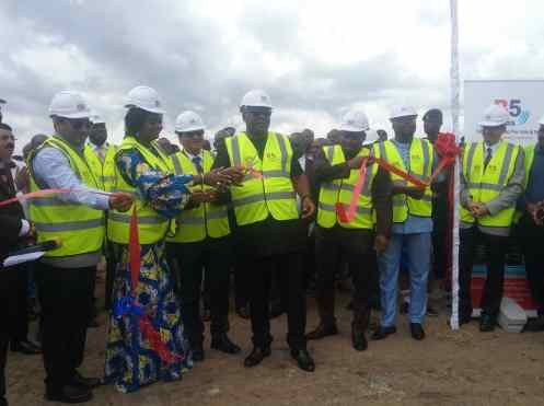 Mr Carlos Ahenkorah (Middle), Mrs Barbra Oteng Gyesi (second on right) and other Dignitaries at the sod cutting ceremony