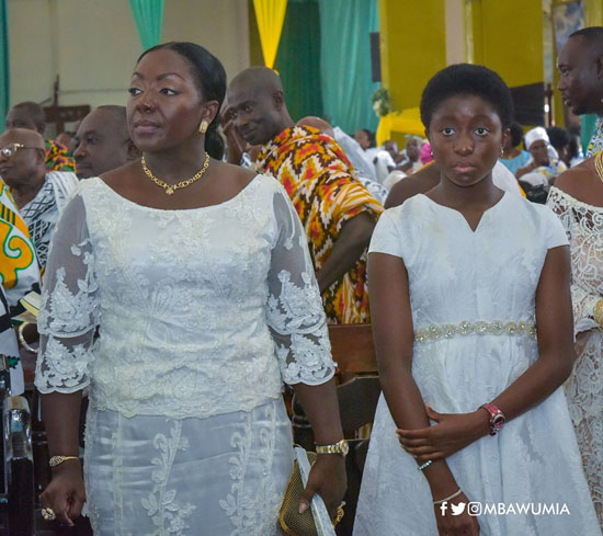 Ohemaa Afia Kobi Serwaa Ampem stands next to her mother, Lady Julia Osei Tutu during the mass to mark her father's 69th birthday.