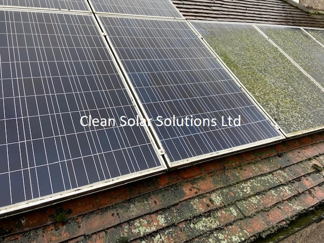 Solar panels in Wembley that are  halfway through cleaning