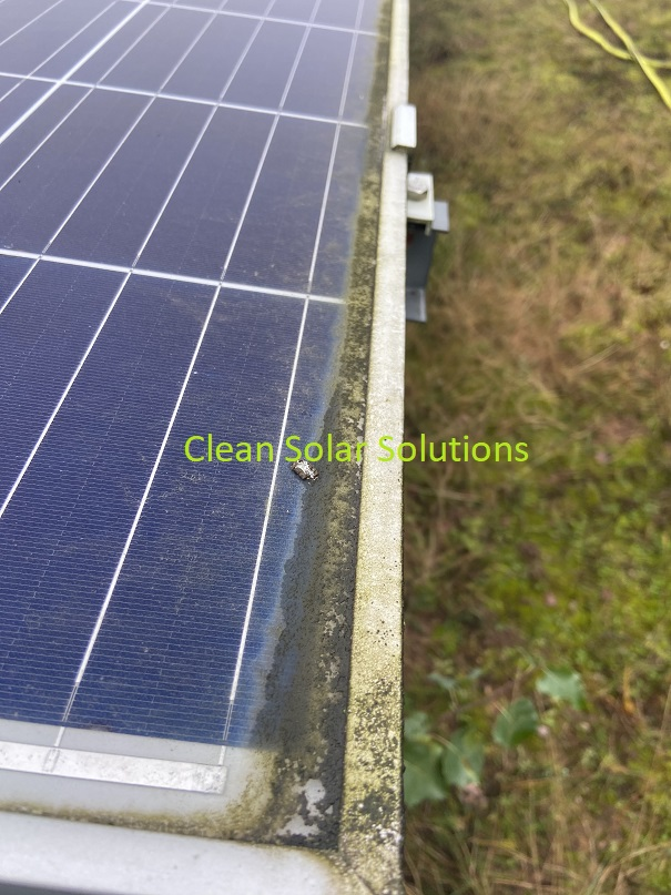 Solar panel in Worksop with dirt along the bottom edge
