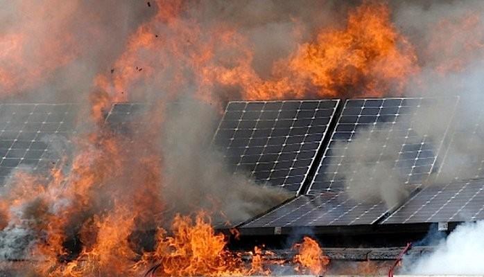 solar panels on fire