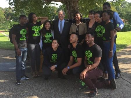 Huston-Tillotson University Green is the New Black student group with university presidet Colette Pierce Burnette and Austin Mayor Steve Adler - photo by Rachel Stone
