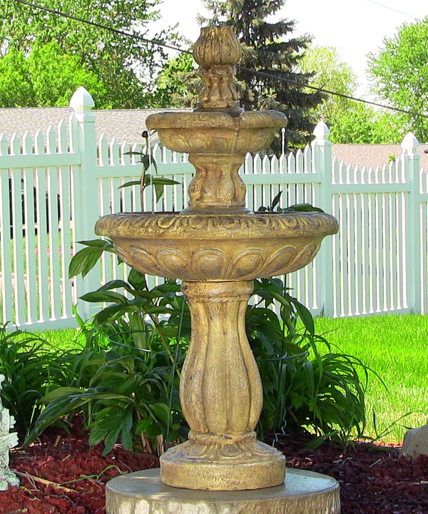 2 tier solar on demand water earth tone on 2 Tier Water Fountain id=63924