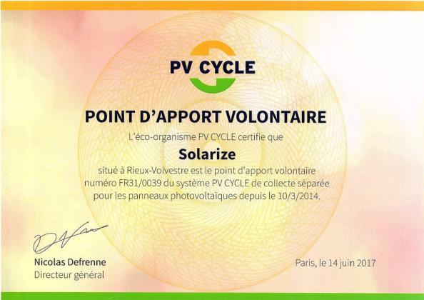 Certificat PVCYCLE-SOLARIZE