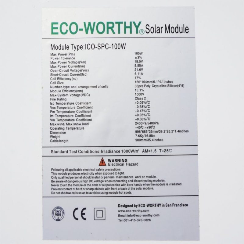 Eco worthy solar panel sticker