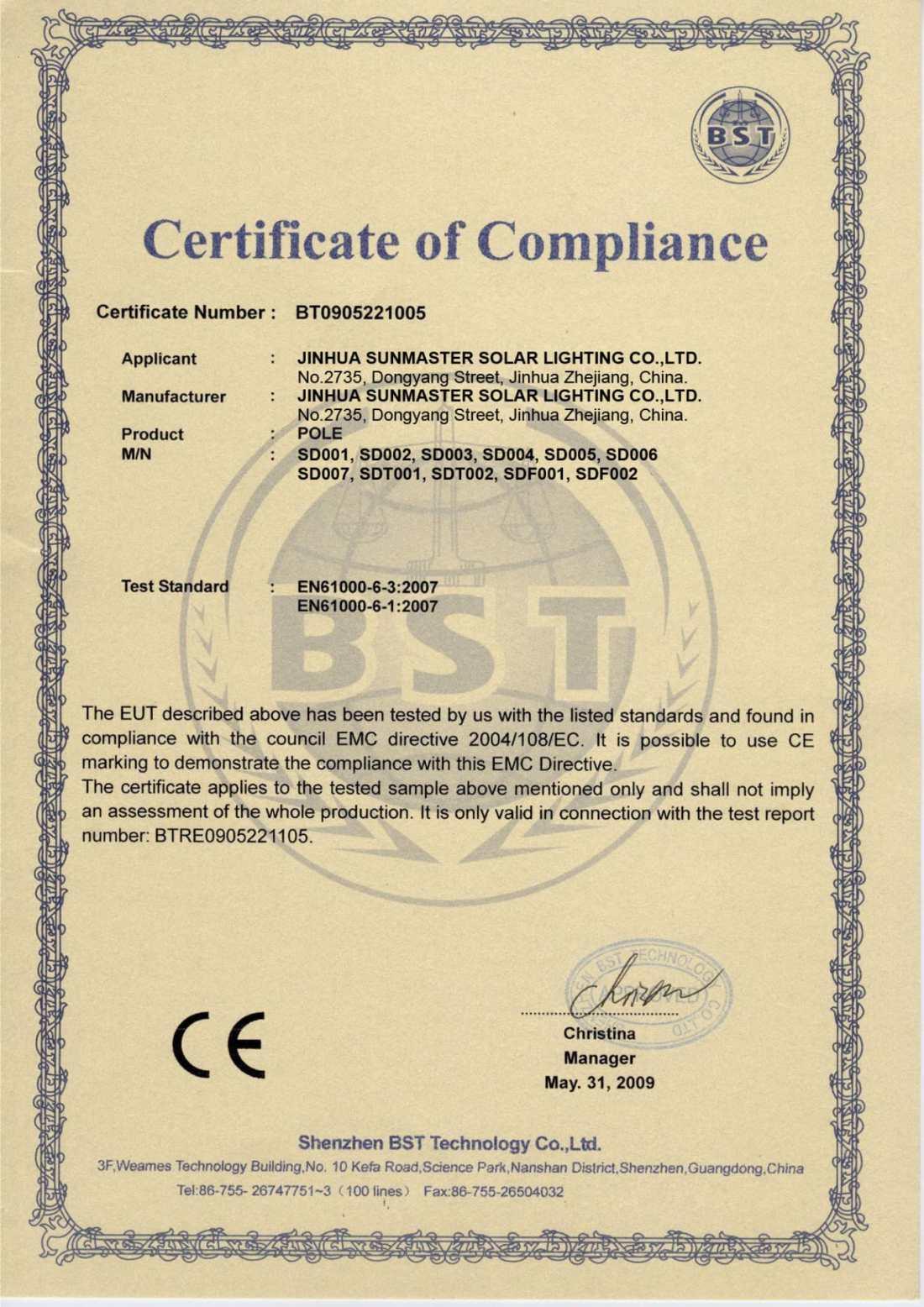 04-CEpole Certificados Sistemas de Iluminación Solar SunMaster