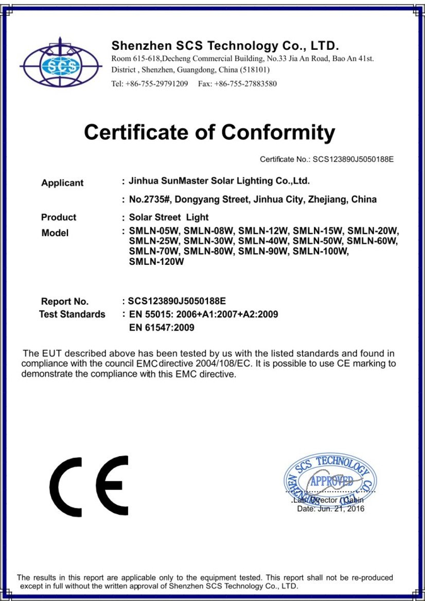 allinone ce 2016 5 120W - Solar lights certificates