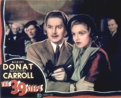Robert Donat and Madelien Carroll are thrown together in The 39 Steps