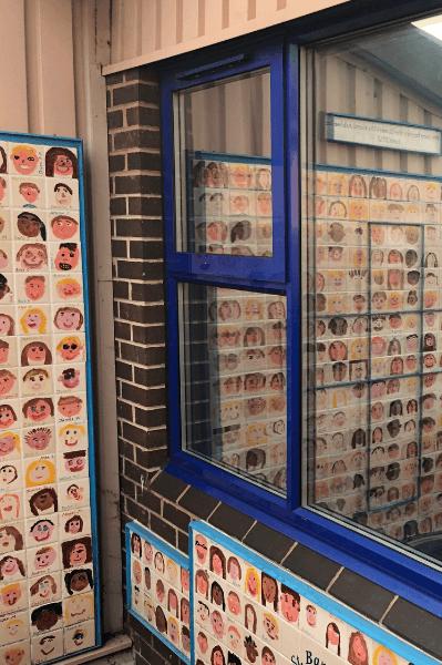 Privacy film on an external school window