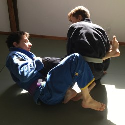 Andrew and Gabriel practicing leglocks