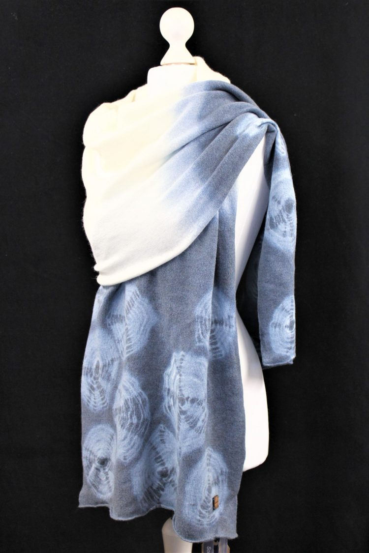 Solasonach rockpools wrap in blue and white hand dyed lambswool