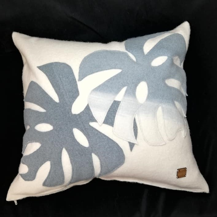 Solasonach Felted lambswool cushion with applique leaves