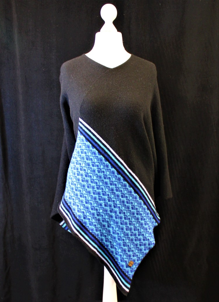 Marrakech Black and Blue Poncho