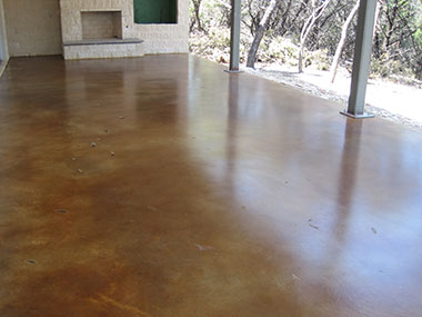 umber acid stained back patio