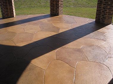 stone like trowel down texture on back patio