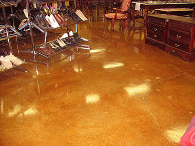 umber acid stained floor in retail store