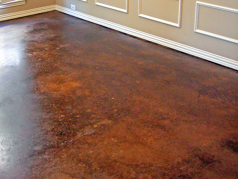 another view of brown acid stained floor