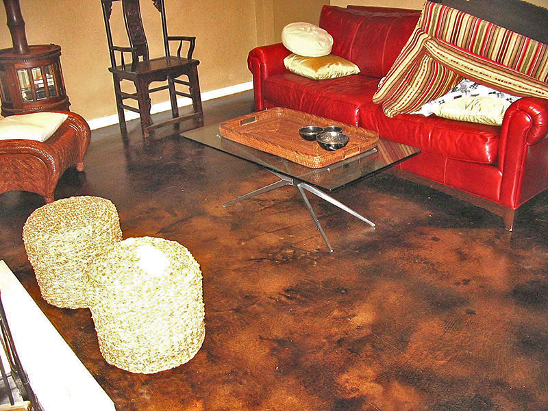 furniture on brown acid stained floor